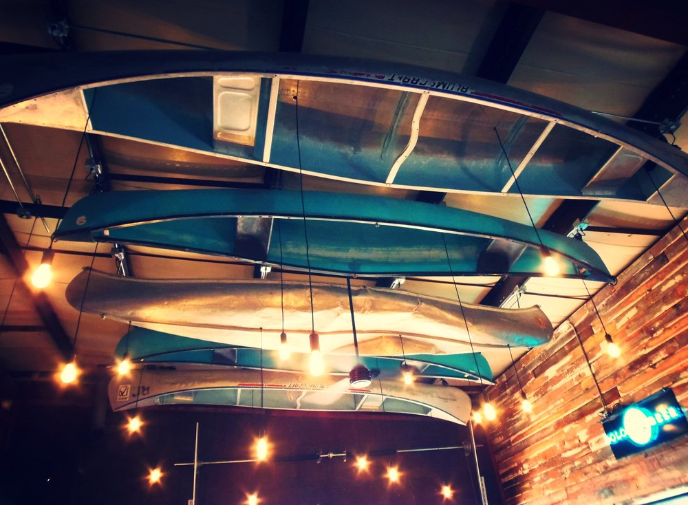 Canoeing on the Niobrara is a big attraction for the area and having the canoes hanging from the ceiling adds to the charm of the taproom