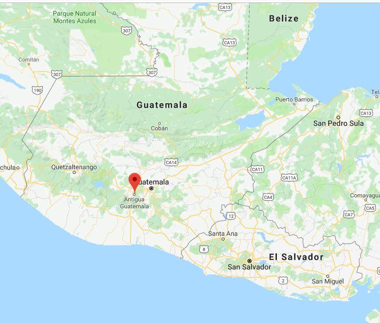 Antigua is in southern Guatemala