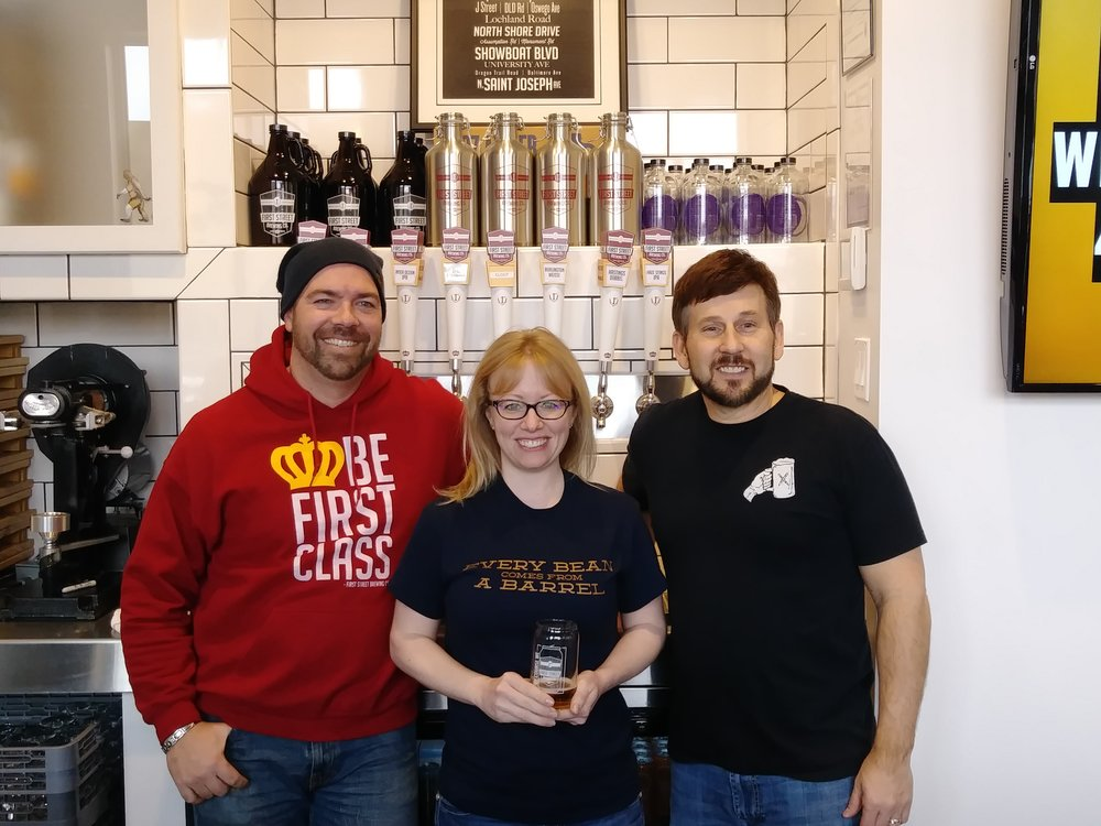 Popular Blonde release with Clout Coffee - Nathan Hoeft - First Street Brewing Brewer and owner, Carole Sprunk - owner of Clout Coffee and Joe