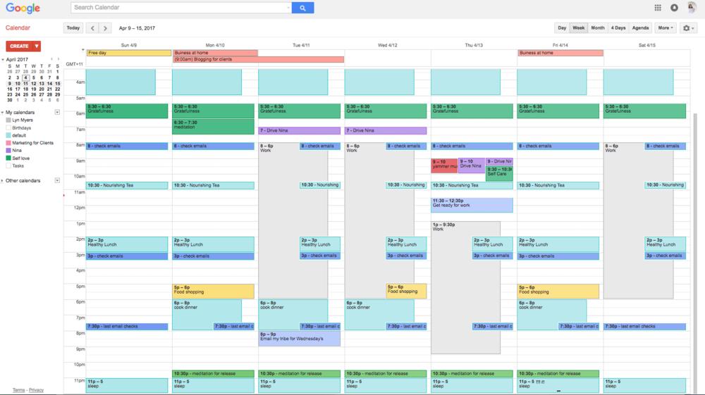 A snapshot of my Google Calendar.