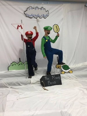Third-graders Lyric Smith and Felix Guss (left to right) paid tribute to a Nintendo classic, Super Mario Brothers, with a clever live interpretation of everyone's favorite game.