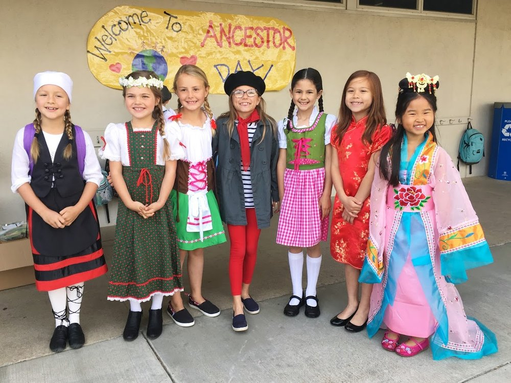Arroyo second graders were excited to represent their heritage in traditional clothing from their culture. From left: Ava Eagelson, Simone Hoppe, Ava White, Shaye Holz, Sophie Hsu, Marissa Hilde, and Sophie Ly-Pang. Photo courtesy: Linda Ly