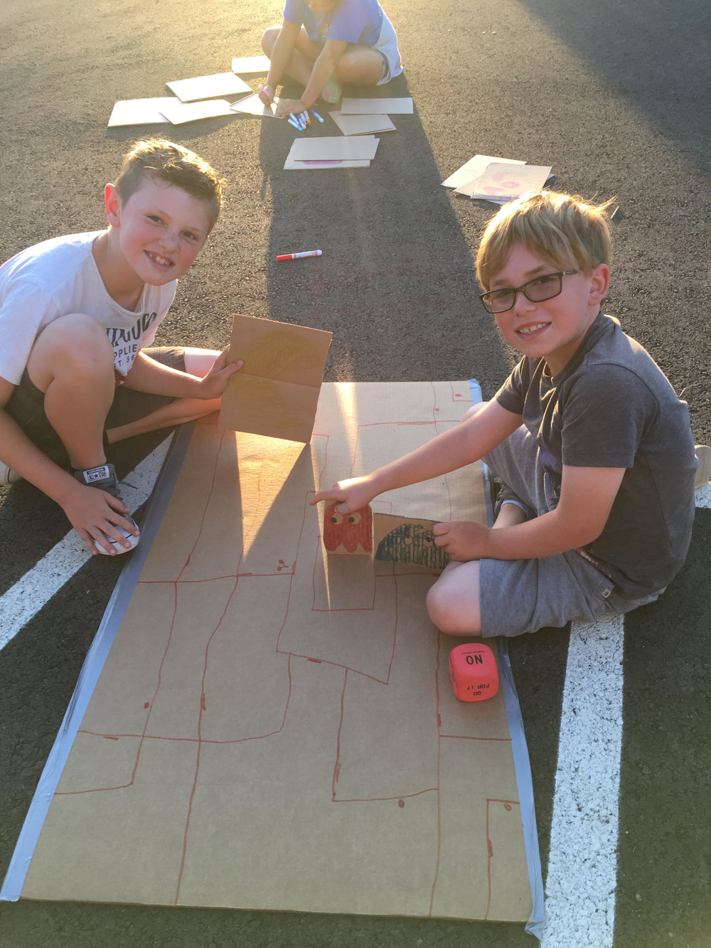 Felix Guss and Matthew Ciecek (from left) work together on their design at the Makerspace Family Night. All photos courtesy: Michelle Ciecek