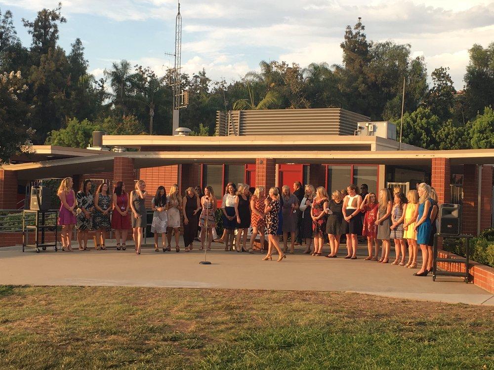 Principal Katy Sheyka introduces the Arroyo teachers at Back to School Night.