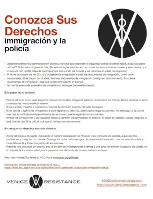 CONOZCA SUS DERECHOS IMMIGRACIÓN Y LA POLICÍA (ACLU)