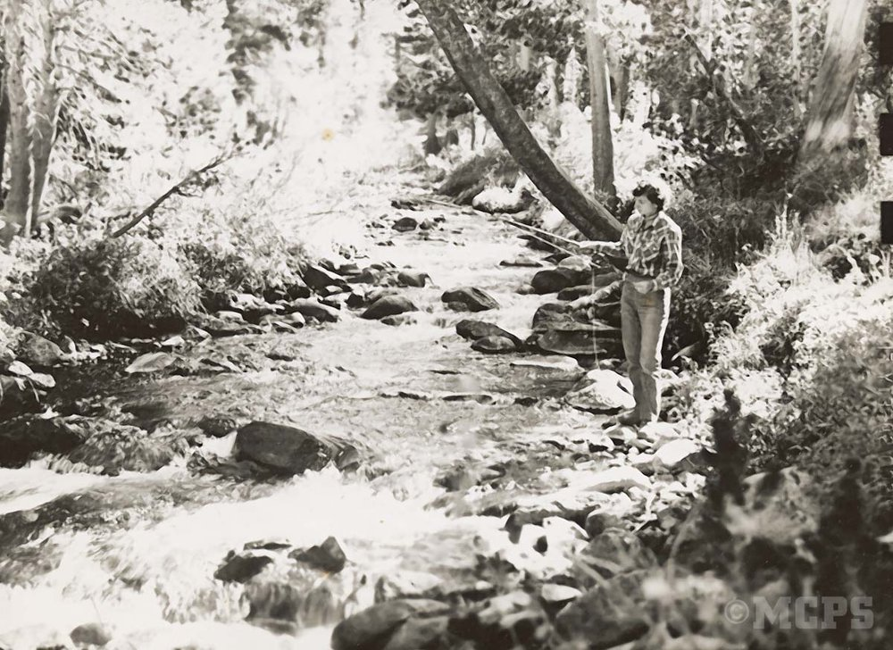 A lady 'pack-tripper' trying her hand at Sierra backcountry flyfishing in upper McGee Creek