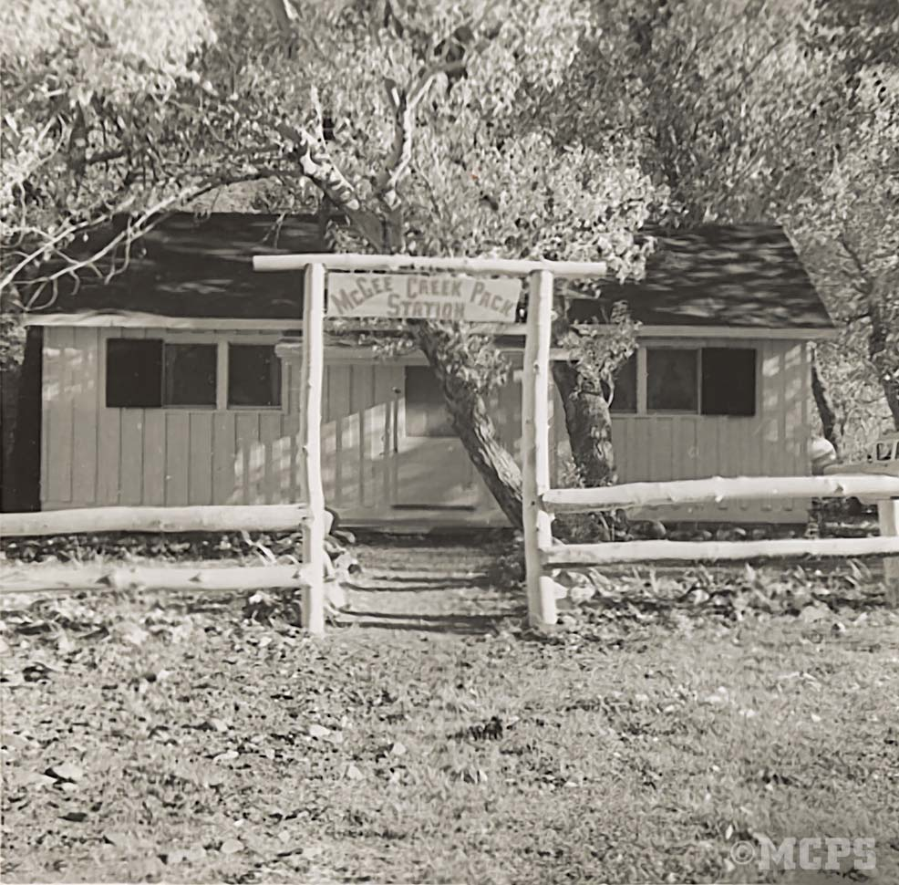 Fondly remembered base camp: The old McGee Creek Pack Station cabin, built in 1930, was destroyed by avalanche in 1982