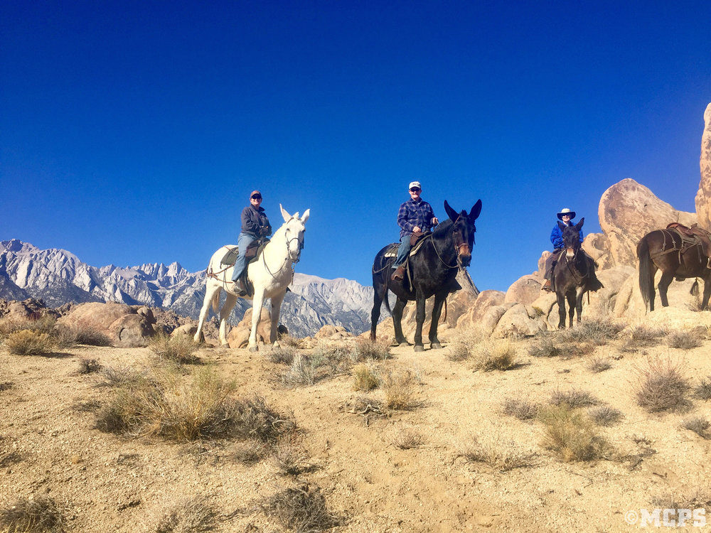 Riders in the Alabama Hills courtesy of McGee Creek Pack Station