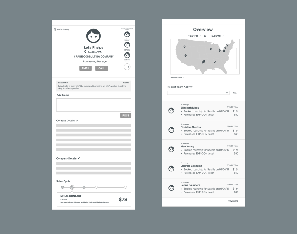 In the initial brainstorming phases we conceptualized the idea of 2 views - map, and a detail information view. From these initial ideas, through months of iterating, we settled on the final division of Map vs Dashboard (by Team and Account) view