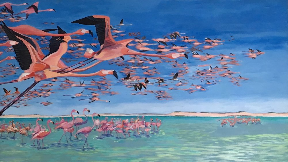 Something about Flamingos 42 x 73