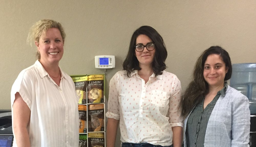 New Employees - New products, new flavors, and now new employees. Chelsea (far left) welcomes Michelle (middle), Sales Administrator, and Rotem Segal (right), Digital Media Manager and Sales Administrator to our team!