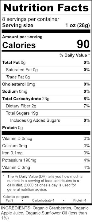 Organic Apple Juice Infused Dried Cranberries Ingredient Nutrition Labels (002).jpg