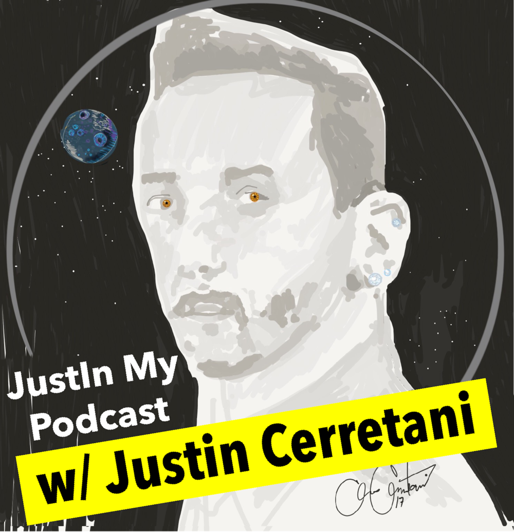 JustIn My Podcast Justin Cerretani logo w yellow color.PNG