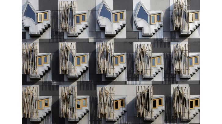 """Think Pods"" on the Scottish Parliament building in the Holyrood area of Edinburgh. Credit: ED Jones/AFP/Getty Images"