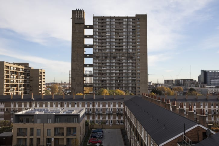 "The Balfron Tower in the Brutalist Brownfield Estate in London, England. Brutalism was popular between the 1950s and 70s, and is characterized by large forms and exposed concrete or brickwork. In 2016, the British transport minister, John Hayes, described such modernist as ""aesthetically worthless."" Credit: Jack Taylor/Getty Images Europe/Getty Images"