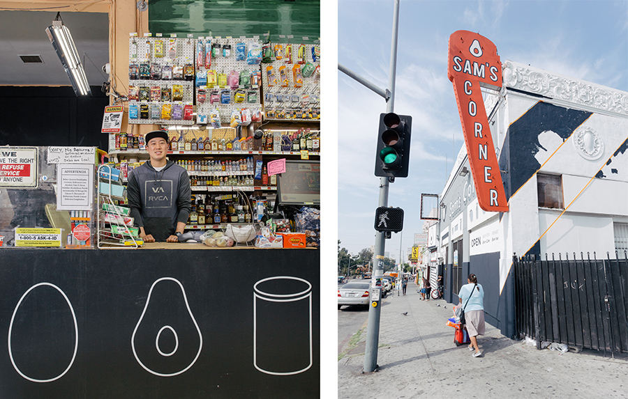 """For Sam's Corner Store near MacArthur Park, LA-Más helped showcase an expanded offering of fresh produce and healthy food options with bright exterior paint, bilingual signage, and """"fresh"""" icons throughout. Photo courtesy of LA Más."""