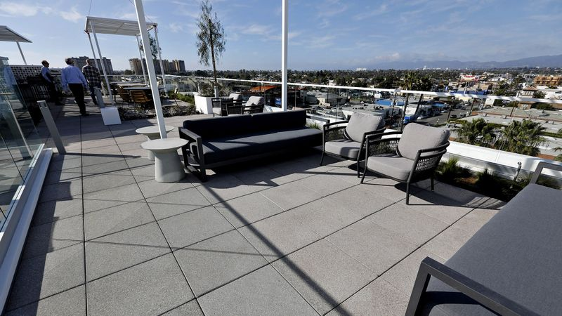 The roof of the C1 apartment complex features a pool and lounge area. (Gary Coronado / Los Angeles Times)