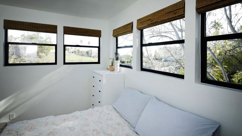 The bedroom of a Node bungalow. (Myung J. Chun / Los Angeles Times)