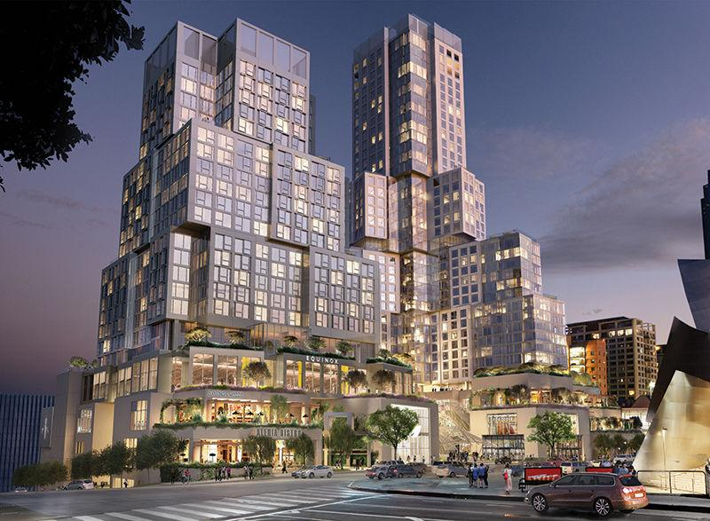 An aged parking structure at First Street and Grand Avenue was torn down last year, and in 2019 construction will begin on Related Cos.' $1 billion The Grand. The Frank Gehry-designed project would add 436 residential units and a 309-room hotel to Bunker Hill.  image courtesy Related/Gehry Projects
