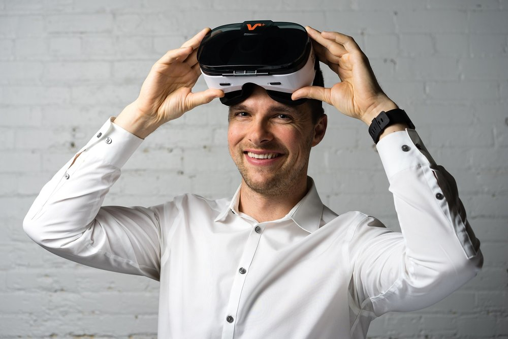 Michael Montgomery - Calgary, Alberta. Wearing a real estate virtual reality headset.