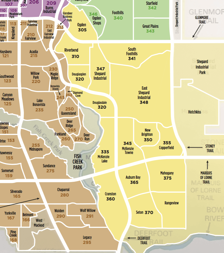 South East Calgary Community MLS Map for 2019