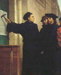 Luther nails 95 theses to door at Wittenberg