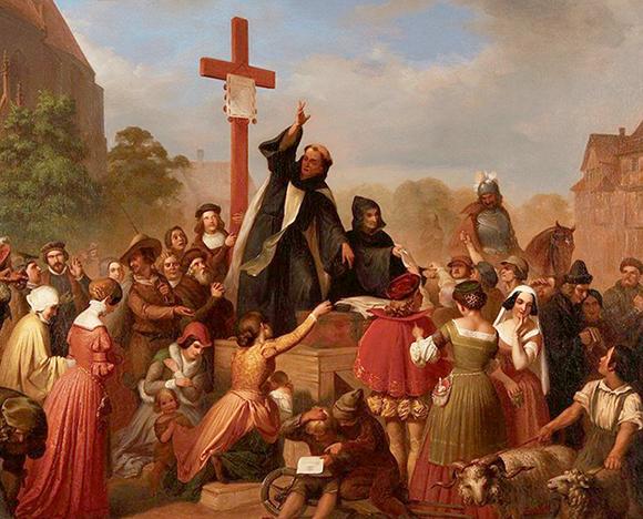 J.D.L. Franz Wagner - 'Friar Johann Tetzel Selling Indulgences'   License - Public Domain