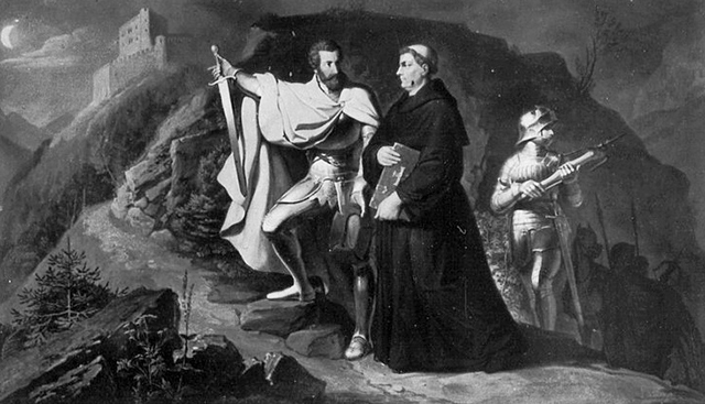 Christoph von Langenmantel brings Luther to Hohenschwangau, fresco by Wilhelm Lindenschwith the Elder, 1836 | License - Public Domain