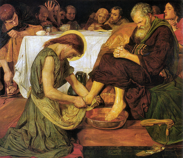 'Jesus washing Peter's feet' by Ford Madox Brown (1852–6) | Licence - Public Domain