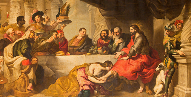 Jesus dines with Simon and Pharisees while prostitute washes His feet with her hair