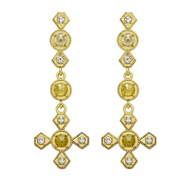 Drooling over these earrings!! Rustic rose cut diamonds with full cut diamonds encrusted in 18k yellow gold.  #rawelegance #rusticdiamonds #rosecutdiamond #18k #18kgold #designer #designerjewelry #elegantjewelry #heirloom #redcarpet #celebrityjeweler #madeinla #santamonica #malibu #beadedjewelry #750gold #creative #earrings #dangling #jewelryporn #amynthejeweler #newdesign #jewelrystore