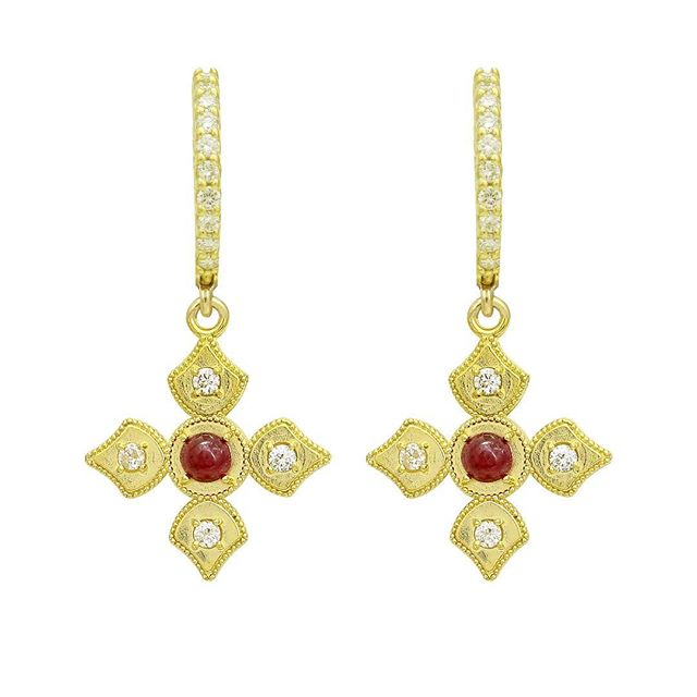 LOVE these earrings on LOVE DAY.....Happy Valentines Day!! Ruby and diamond pendants dangling from diamond hoop earrings set in 18k yellow gold.  #elegance #ruby #valentines #diamondhoops #stylish #love #diamonds #18k #18kgold #designer #designerjewelry #elegantjewelry #heirloom #fashionstylist #styleblogger #fashionblogger #redcarpet #celebrityjeweler #madeinla #santamonica #malibu #beadedjewelry #750gold #creative #earrings #dangling #jewelryporn #amynthejeweler