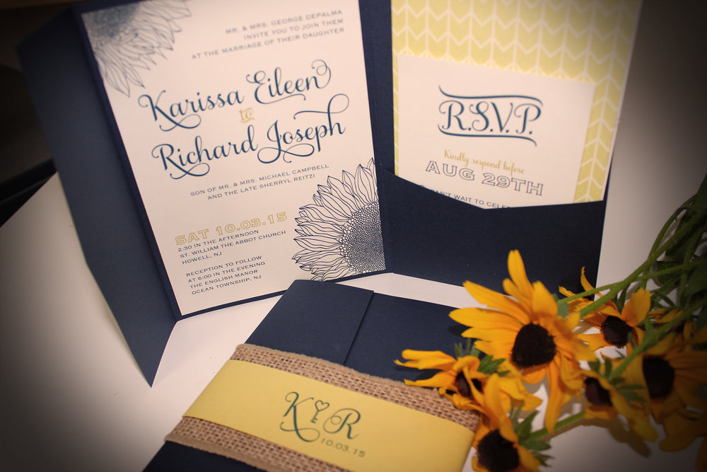 Navy and yellow sunflower wedding invites art paper scissors these two lovebirds are getting married in october and dreamed up a navy and yellow sunflower invitation design for their wedding at the english manor in filmwisefo Choice Image