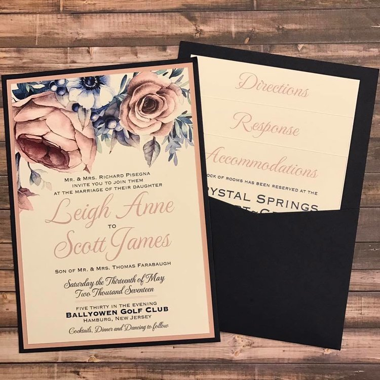 Leigh Anne and Scott - who were just married last weekend - added blush as part of a bold and modern color combination with stunning watercolor floral accents.