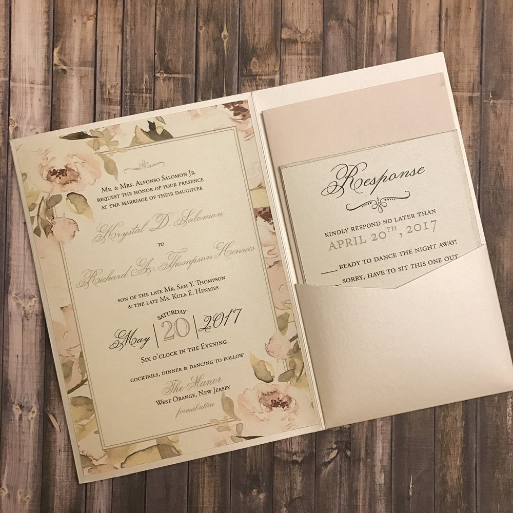 Krystal and Richard incorporated their romantic blush theme into the entire invitation suite with plenty of watercolor, floral details.