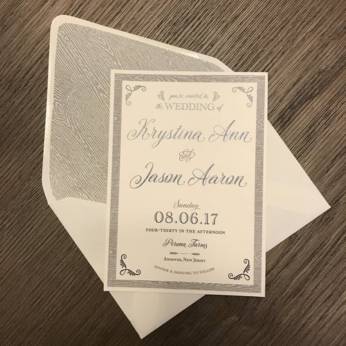 These Absolutely Stunning Gray Invitations Have The Perfect Rustic Elements With Woodgrain Texture Lace And Twine For A Beautiful Farm Chic