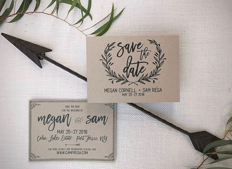 Rustic and romantic save-the-dates with vintage floral ornaments and bold types on lovely kraft paper.