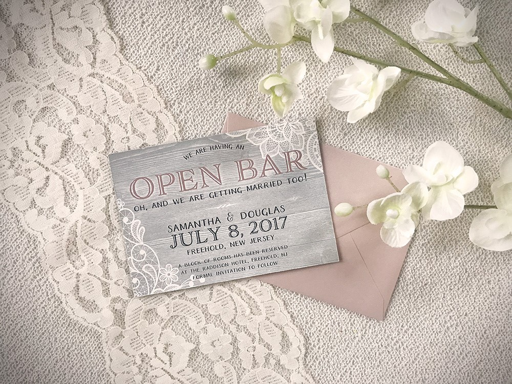This rustic save-the-date magnet features lace and woodgrain elements - plus some cheeky humor!