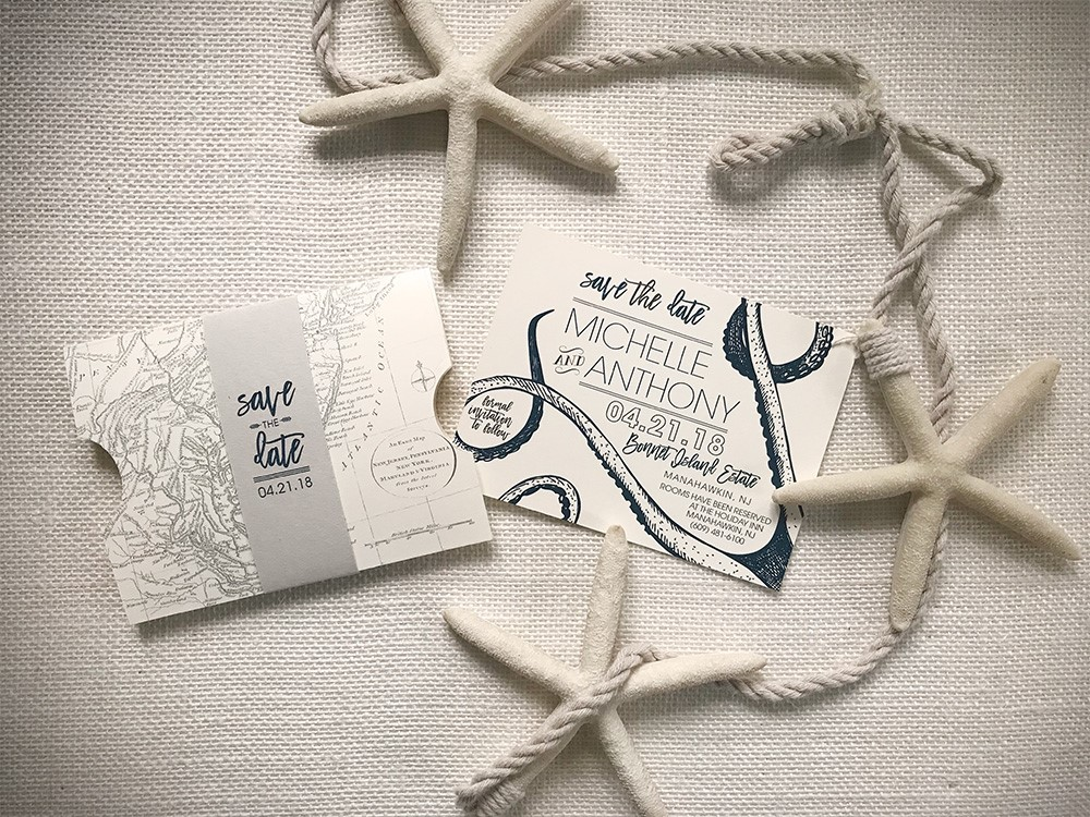 Octopus tentacles and nautical map designs rule this save-the-date.
