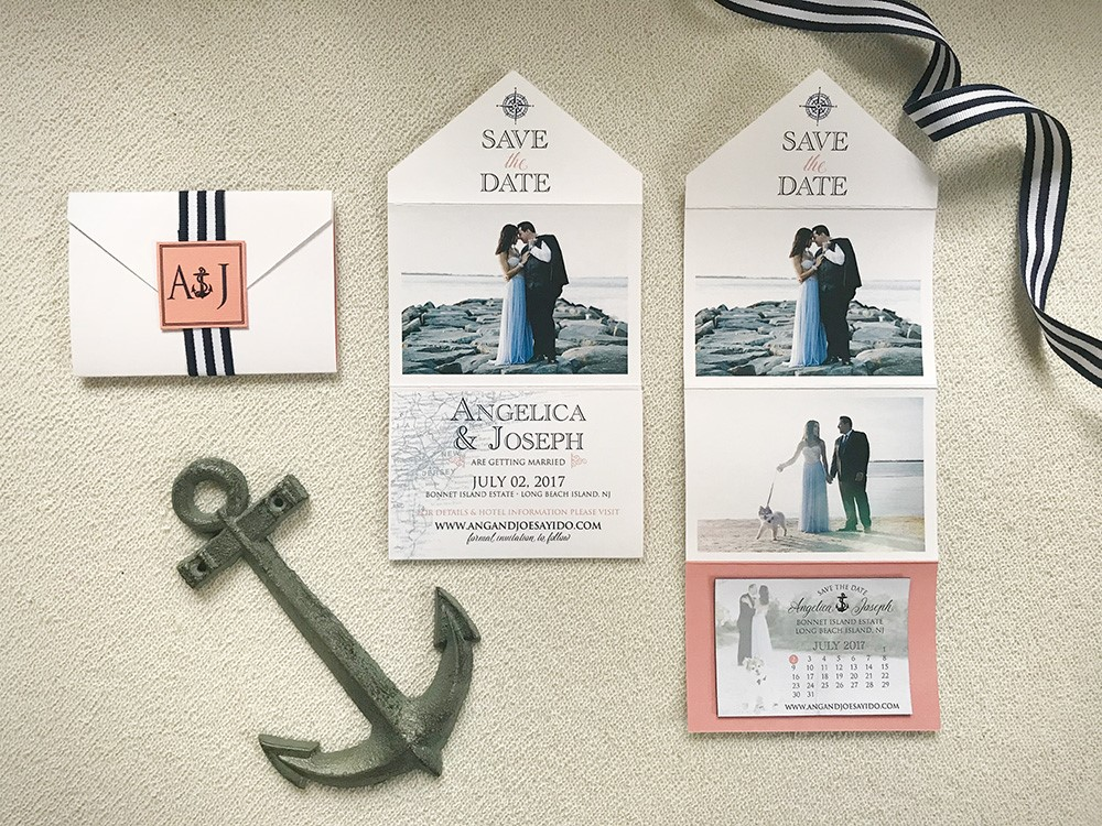 Nautical navy with beachy coral are the perfect pair for a lovely affair by the shore.