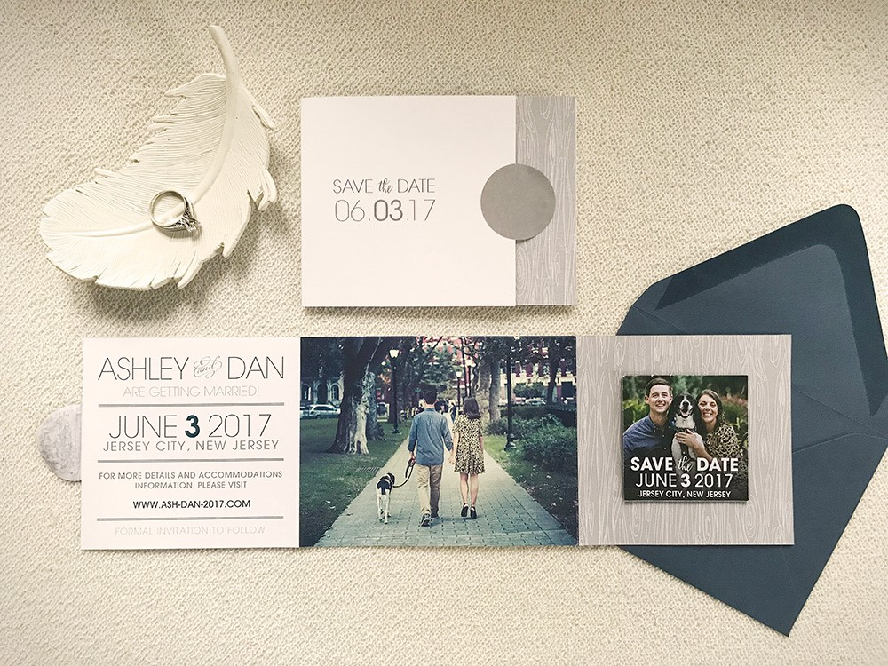 A modern spin on rustic woodgrain, featuring a gorgeous navy hue and a takeaway save-the-date magnet for this couple's guests. We can't get enough of their pup!
