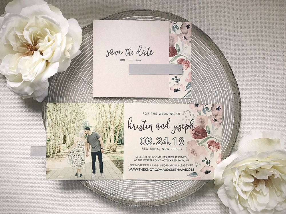 This blush trifold featured sweet watercolor florals and romantic types.