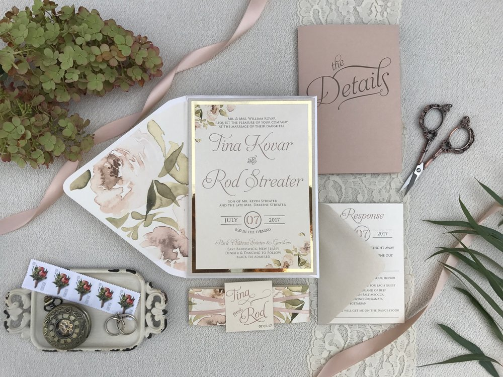 Blush watercolor floral and gold mirror wedding invitations | Art Paper Scissors