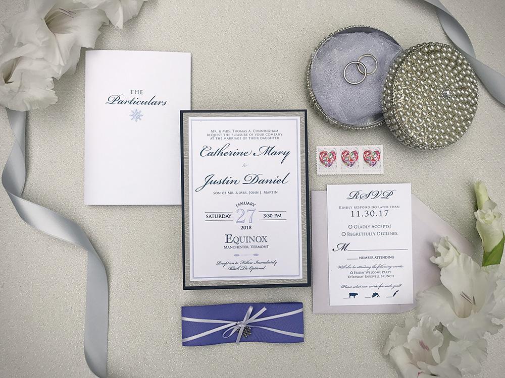 Gray woodgrain and purple snowflake winter wedding invitations | Art Paper Scissors