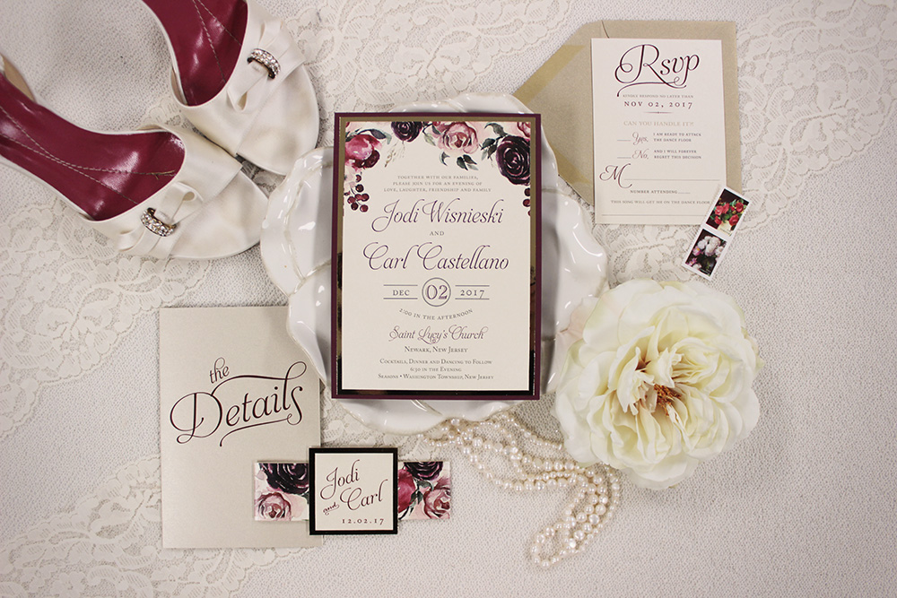 Rich red and gold watercolor floral wedding invitations | Art Paper Scissors