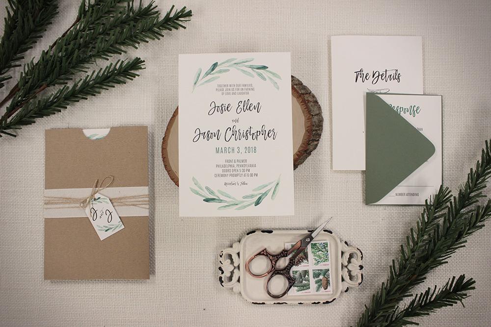 Watercolor greenery rustic wedding invitation