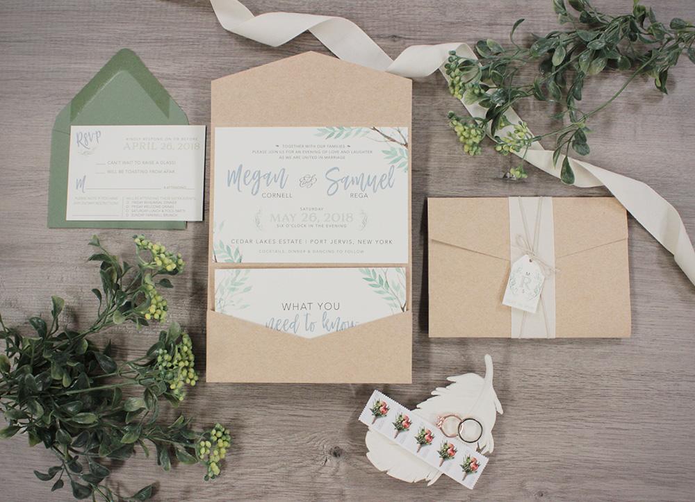 Nature-inspired watercolor greenery wedding invitation