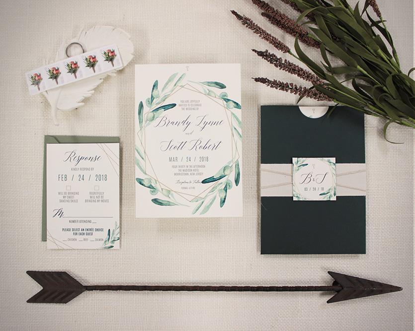 Geometric and watercolor greenery modern wedding invitation
