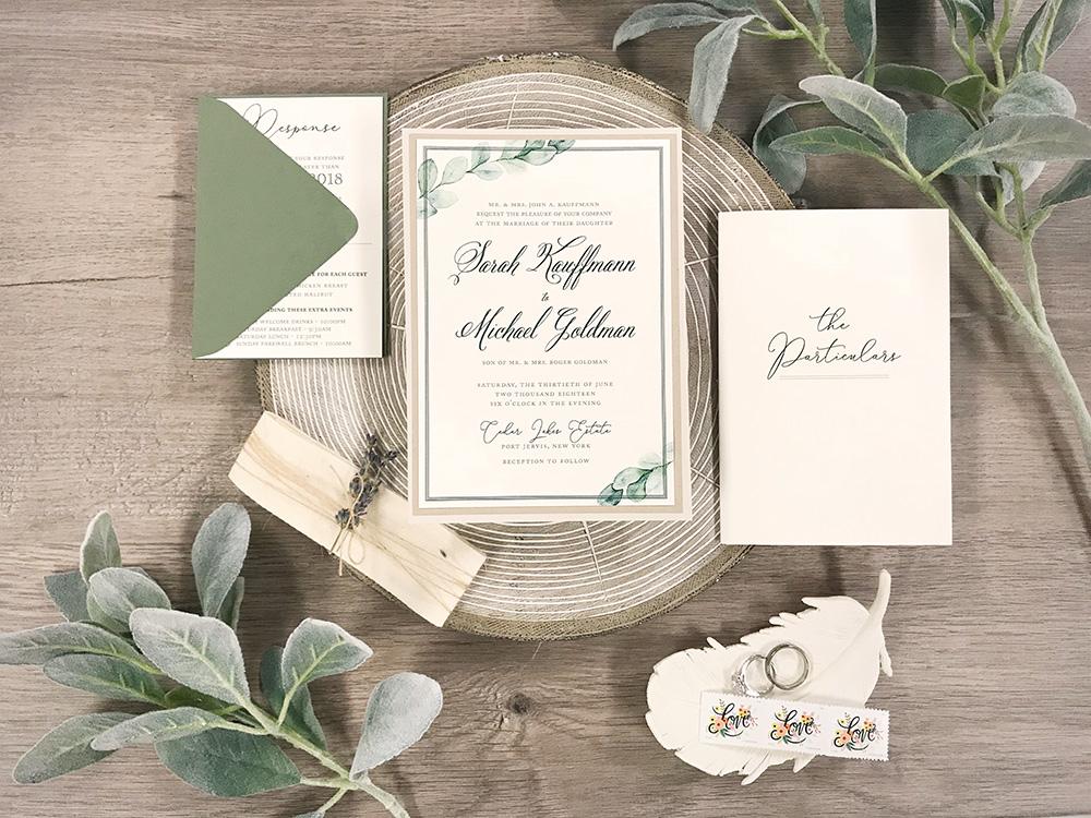 Rustic watercolor greenery natural wedding invitations