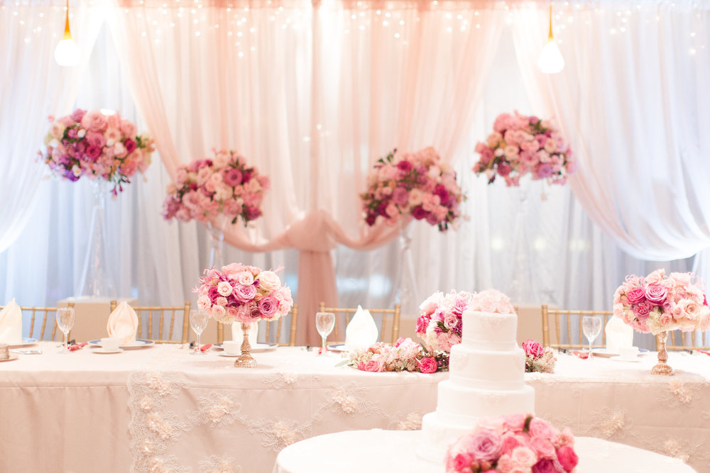 Romantic wedding reception backdrop